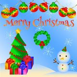 Uroczy kartka bożonarodzeniowa wektoru wzór 4 Zdjęcia Stock