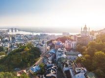 Uroczy Kijowski Ukraina Andrew ` s spadku stara ulica Panaramic trutnia wschodu słońca powietrzny widok obrazy royalty free