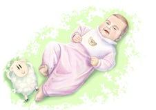 Uroczy mały smiley dziecko w błękitnym piżamy lying on the beach w łóżku z pluszowym barankiem Ręka rysująca ilustracja w miękkic Obraz Royalty Free