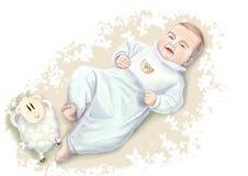 Uroczy mały smiley dziecko w błękitnym piżamy lying on the beach w łóżku z pluszowym barankiem Ręka rysująca ilustracja w miękkic Fotografia Stock