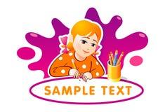 Uroczy mała dziewczynka rysunek Zdjęcie Stock