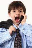 uroczy miechowaty chłopiec telefon komórkowy kostium obraz royalty free