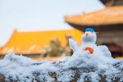 Uroczy śnieżny mężczyzna Zdjęcia Stock