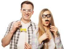 Uroczy pary mienia przyjęcia szkła na kiju Fotografia Royalty Free
