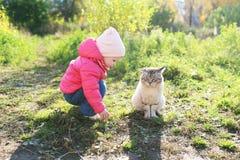 Uroczy 1 rok dziewczyny i bezdomny kot w jesieni outdoors Zdjęcia Royalty Free