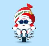 Uroczy Santa Claus na rowerze Bożenarodzeniowy symbol Stylizowany charact Obrazy Stock