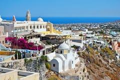 Uroczy Santorini wyspy punktów zwrotnych światopogląd Grecja Zdjęcie Stock
