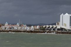 Uroczy seascape przy Albufeira denną stroną Obraz Stock