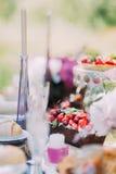 Uroczy skład smakowity jedzenie Owocowy chocolade gąbki tort dekorował z wiśniami i truskawkami przy Obraz Royalty Free