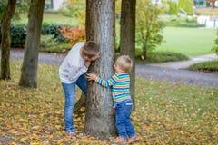 Uroczy szczęśliwi childs z blondynu zerkaniem wokoło drzewnej bawić się kryjówki, aport w parku - i - zdjęcia royalty free