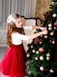 Uroczy szczęśliwy uśmiechnięty małej dziewczynki dziecko w princess sukni zrozumieniu obraz stock