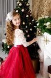 Uroczy szczęśliwy uśmiechnięty małej dziewczynki dziecko w princess sukni zrozumieniu obraz royalty free