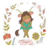 Uroczy yak z rocznik ramą dla twój projekta w doodle projektują Fotografia Stock