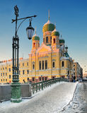 Uroczy zima wieczór w świętym Petersburg Zdjęcie Royalty Free