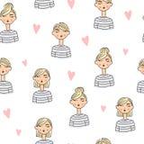 Uroczych kreskówek dziewczyn bezszwowy tło Fotografia Royalty Free