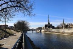 Uroczysta rzeka w Cambridge, Kanada obraz royalty free