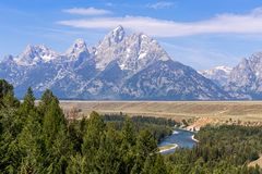 Uroczysta Tetons i węża rzeka, Wyoming obraz royalty free