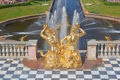 Uroczyste Kaskadowe fontanny Peterhof Obraz Stock