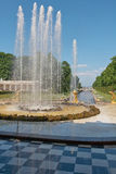 Uroczyste Kaskadowe fontanny Peterhof Zdjęcie Stock