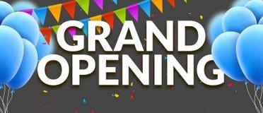 Uroczystego otwarcia wydarzenia zaproszenia sztandar z balonami i confetti Uroczystego otwarcia szablonu plakatowy projekt ilustracja wektor