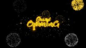 Uroczystego otwarcia Złoty tekst Mruga cząsteczki z Złotym fajerwerku pokazem