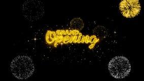 Uroczystego otwarcia złoty tekst mruga cząsteczki z złotym fajerwerku pokazem 1