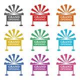 Uroczystego otwarcia zaproszenia pojęcie, ikona lub logo, koloru set ilustracja wektor