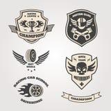 Uroczystego prix motorclub bieżni emblematy ustawiający odizolowywającymi royalty ilustracja
