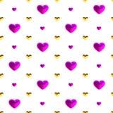 Uroczysty bezszwowy wzór z złocistymi i fiołkowymi sercami na białym tle, wektor Wystrój dla ślubu, urodziny, walentynki ` s d Obrazy Royalty Free