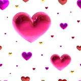 Uroczysty bezszwowy wzór z złocistymi i fiołkowymi sercami na białym tle, wektor Wystrój dla ślubu, urodziny, walentynki ` s d Zdjęcia Stock
