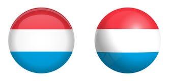 Uroczysty Duchy Luksemburg flaga pod 3d kopuły guzikiem i na glansowanej sferze, piłce/ ilustracji