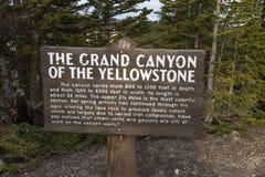 Uroczysty jar Yellowstone znak Obraz Stock
