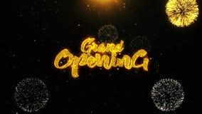 Uroczysty otwarcie życzy powitanie kartę, zaproszenie, świętowanie fajerwerk zapętlający