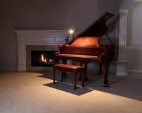 Uroczysty pianino z czytanie lekką i rozjarzoną grabą podczas parzysty, równy Zdjęcia Stock
