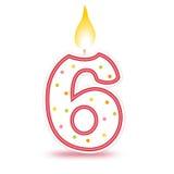urodzin 6 candle Zdjęcie Stock
