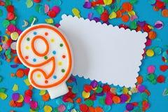 urodzinowa świeczka dziewięć liczb Obrazy Royalty Free
