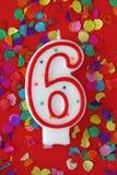 urodzinowa świeczka liczba sześć Zdjęcia Royalty Free