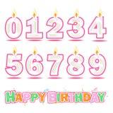 Urodzinowa świeczki liczba i wszystkiego najlepszego z okazji urodzin tekst obraz royalty free