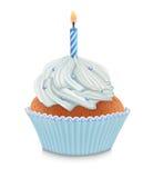 urodzinowa błękitny babeczka Fotografia Stock