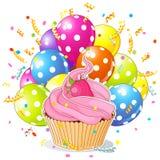 Urodzinowa babeczka z balonami Obrazy Stock