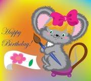 urodzinowa karta rysuje myszy Zdjęcie Royalty Free