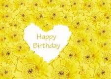 Urodzinowa karta. Serce żółci gerberas kwiaty Fotografia Royalty Free