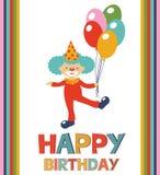 Urodzinowa karta z błazenem ilustracja wektor