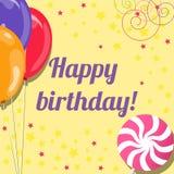 Urodzinowa karta z balonami i lizakiem Zdjęcie Stock