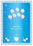 Urodzinowa karta z balonami i sercami, wektorowy projekt obraz stock
