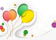 Urodzinowa karta z balonami w stylu wycinanek royalty ilustracja