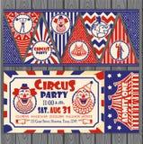Urodzinowa karta z Cyrkowym biletem Zdjęcie Royalty Free