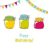 Urodzinowa karta z dżemów słojami i szczotkarskim literowanie tekstem Obrazy Royalty Free