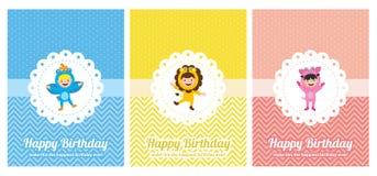 Urodzinowa karta z dzieciakami w zwierzęcym kostiumu Zdjęcia Stock