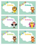 Urodzinowa karta z dzieciakami w zwierzęcym kostiumu Zdjęcia Royalty Free